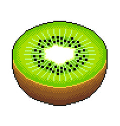 pixel slice kiwi detailed isolated vector image