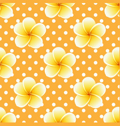 plumeria seamless pattern on a polka-dot vector image