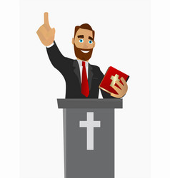 Priest gave a sermon in a church in worship vector