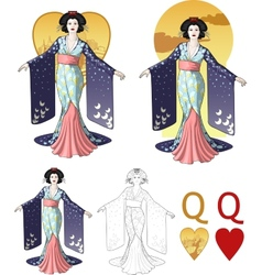 Queen of hearts asian actress Mafia card set vector image