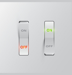 realistic black switches onoff on black background vector image