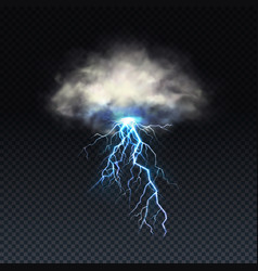 Realistic blue lightning with grey cloud vector