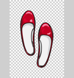 Red ballerina flat shoes isolated vector