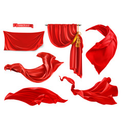 Red curtain 3d realistic set vector