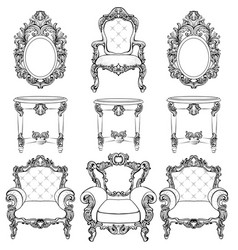 rich imperial baroque rococo furniture and frames vector image