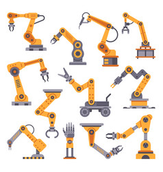 Robotic arms set manufacturing automation vector