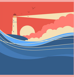 sea waves with lighthouse nature poster of vector image