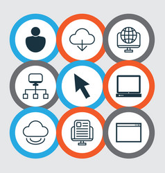 set of 9 world wide web icons includes blog page vector image