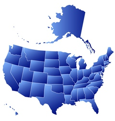 Silhouette map of USA vector
