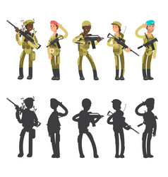 silhouettes of military man and woman cartoon vector image