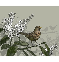 Sketch of a Bird and Flowers vector image