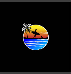 surf hawaii beach sea sport vacation holiday logo vector image