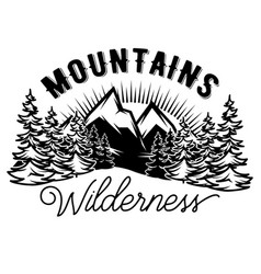 template with stylized inscription mountains and vector image
