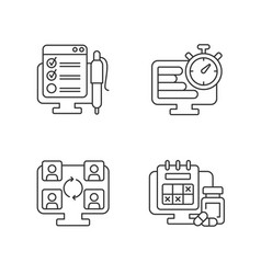 Tracking for remote work linear icons set vector