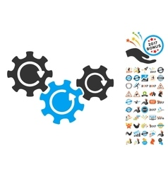 Transmission gears rotation icon with 2017 year vector