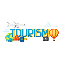 travel concept with tourist items and vector image