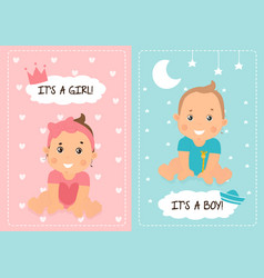 Two baby shower or baby birth card designs vector