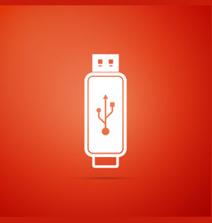 usb flash drive icon isolated on orange background vector image