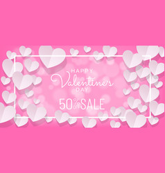 Valentines day sale background with paper cut vector