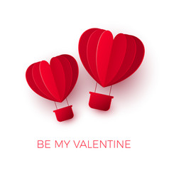 valentines day with paper cut red heart shape air vector image