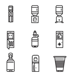 Water cooler flat line icons vector