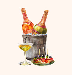 Watercolor for invitation degustation or tasting w vector