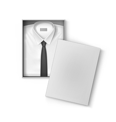 White classic men shirt with tie in packaging box vector image
