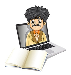 A business icon inside the laptop screen with an vector image