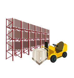 Forklift Truck Loading A Shipping Box in Warehouse vector image vector image