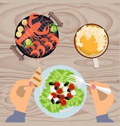 grilled sea food with beer vector image vector image