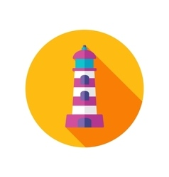 Lighthouse flat icon with long shadow vector image