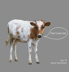 Little cow is calling for vegetarianism polygonal vector image vector image