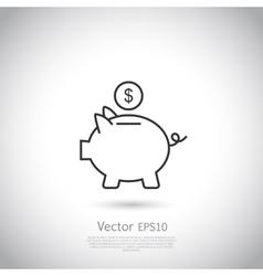 Piggy bank and dollar coin icon vector image vector image