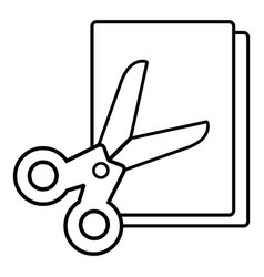 scissors paper icon outline line style vector image