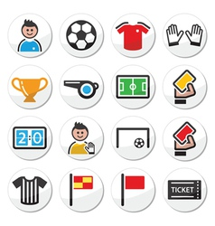 Soccer or football round icons set vector image