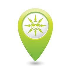 sun symbol green map pointer vector image vector image