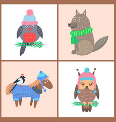 collection of posters animals vector image
