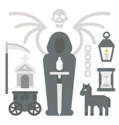 Flat design grim reaper item set vector image