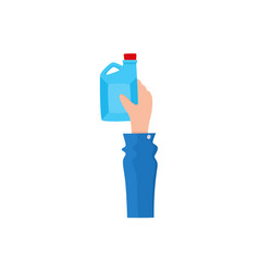 flat icon of hand holding oilcan fuel tank vector image