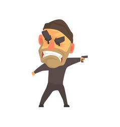 furious male criminal with gun in his hand cartoon vector image vector image
