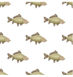 seamless pattern with common carp isolated on vector image