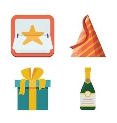 Celebration icon set Bright flat vector image vector image