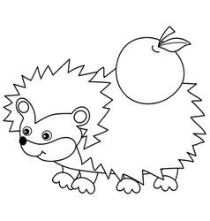 cute cartoon hedgehog with apple vector image vector image