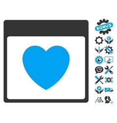 Favourite heart calendar page icon with vector