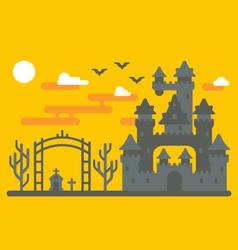 Flat design creepy castle vector image