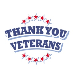 thank you veterans logo isolated on white vector image vector image