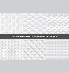 white decorative seamless 3d geometric textures vector image