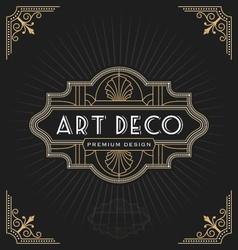 Art deco frame and label design vector
