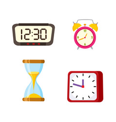 flat clock types icon set isolated vector image