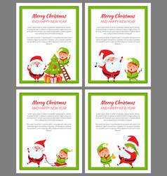 merry christmas and happy new year set of cards vector image